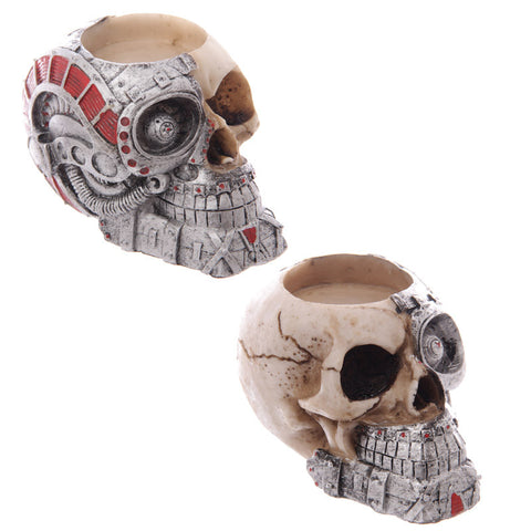 Half Robot Half Skull Tealight Holder