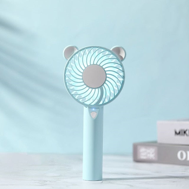 NEW Bear Air Fan Cute Cartoon Handheld USB Rechargeable Fans LED Light Portable Air Cooling Fan Mini Ventilador portátil Desktop