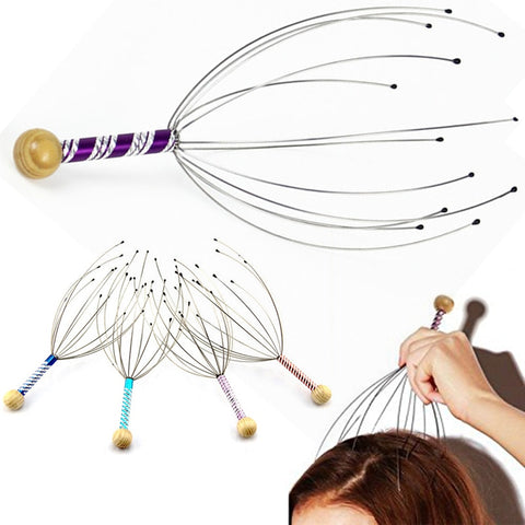1PC Octopus Head Scalp Relaxation Massage Pain Relief Body Massager Stress Release Relaxing Claw Metal Massager Device Unisex