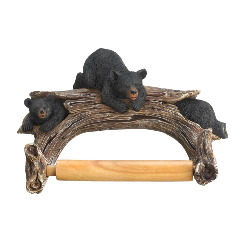 Bears On Log Toilet Paper Holder
