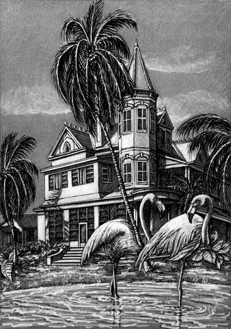 SV5 - Southernmost House with Flamingo Pen and Ink