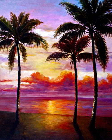 Sunrise with Three Palms