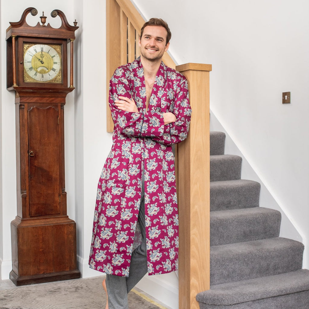 Lightweight Men's Dressing Gown - Gatsby Paisley Wine