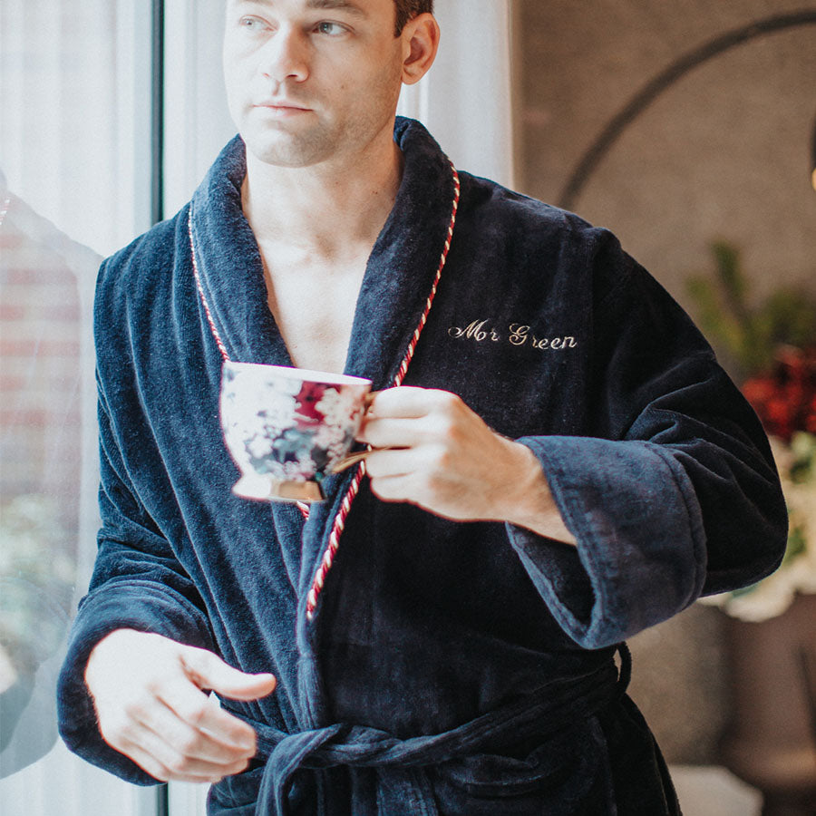 Men's Navy Cotton Bathrobe | Bown of London