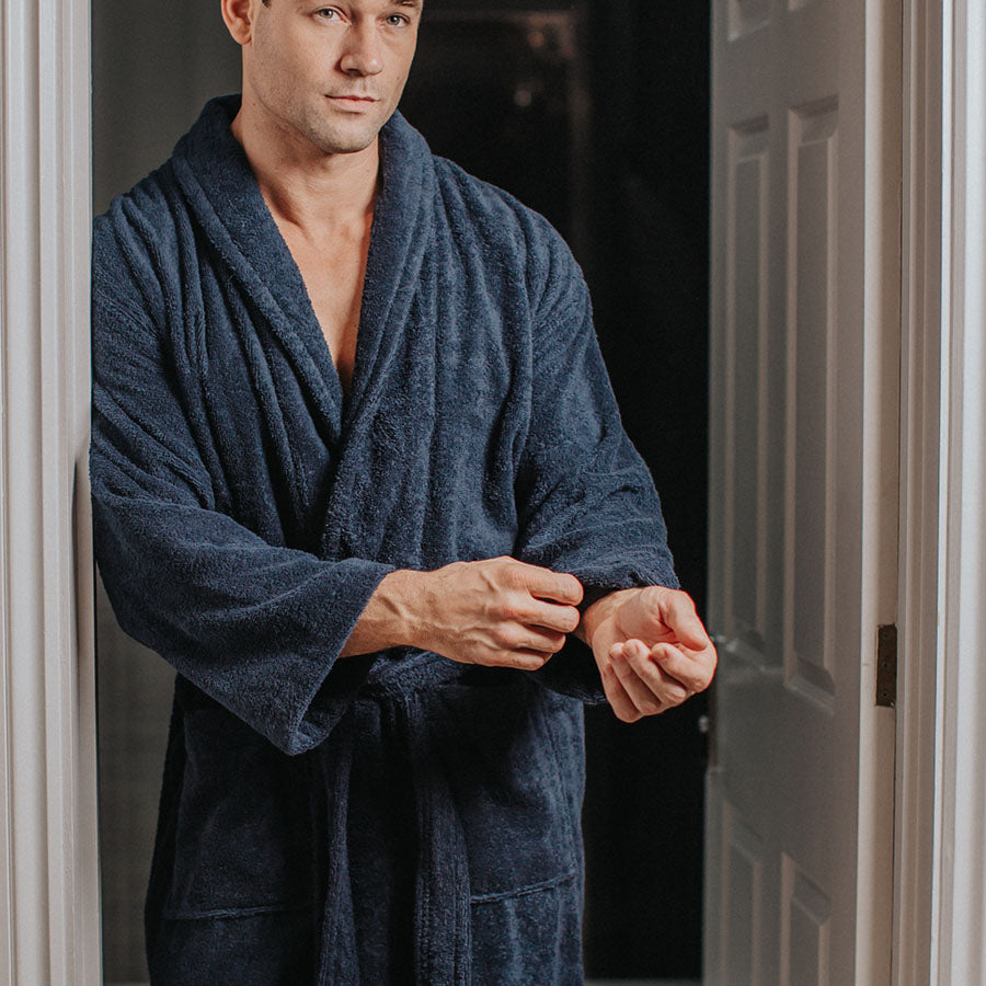 Luxury Heavyweight Toweling Navy Robe | Bown of London