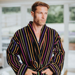 Stripped Men's Luxury Bathrobe | Bown of London