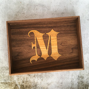 Inlaid Monogram EDC Tray - Walnut