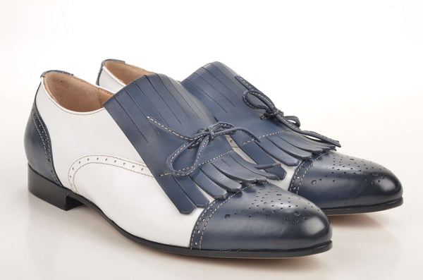 Damen Slipper: John Baker's Slipper / Loafer DL46 Kalbsleder blau weiß