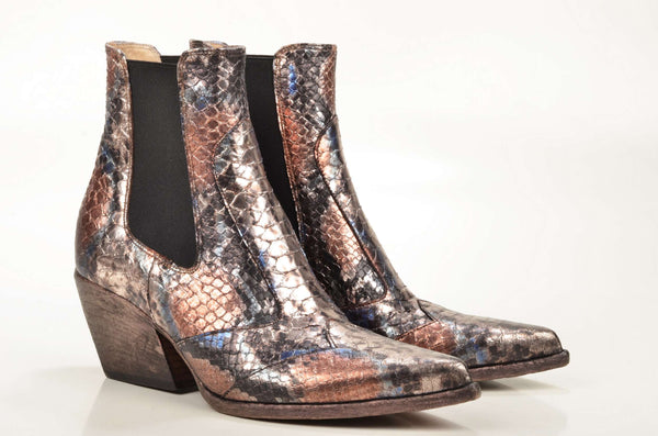 Damen Boots: Strategia Western Chelsea Boot E2002 Kalbleder metallic animalprint