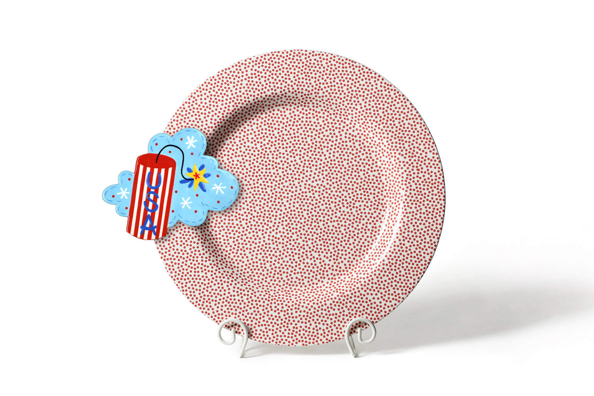 Red Small Dot Big Entertaining Round Platter