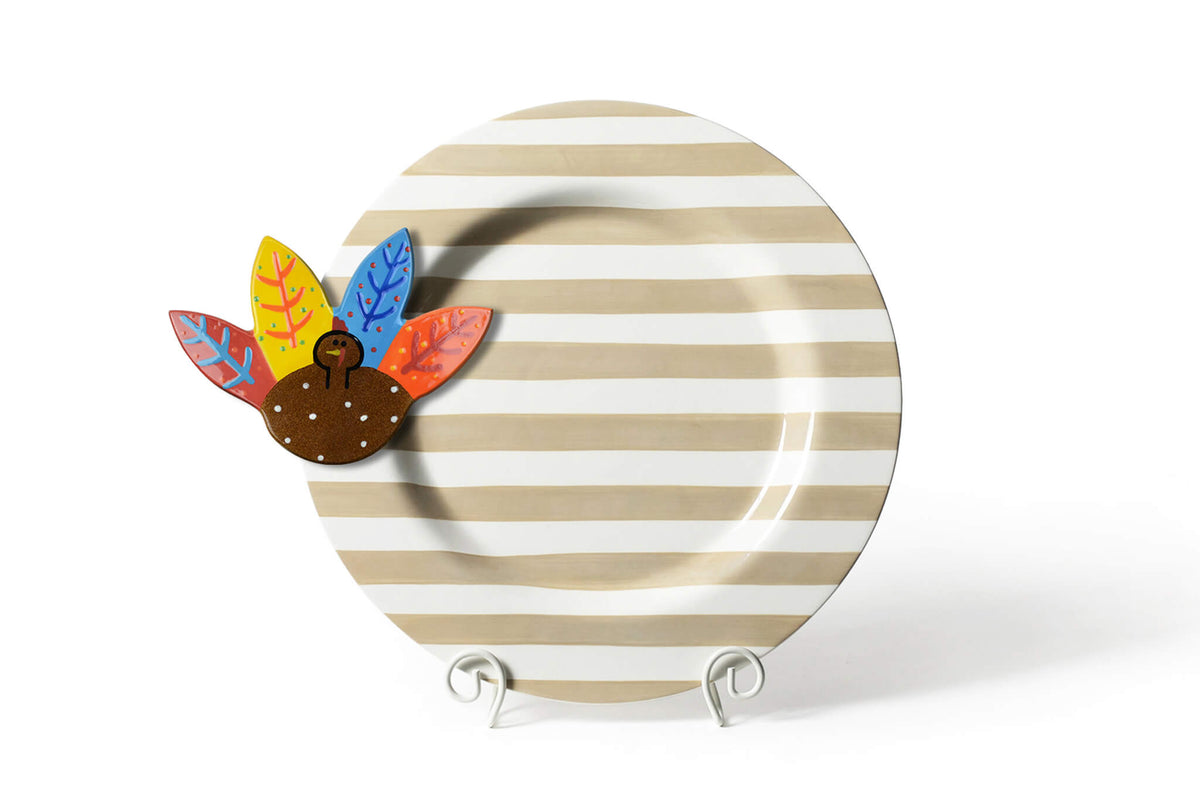 Neutral Stripe Big Entertaining Round Platter