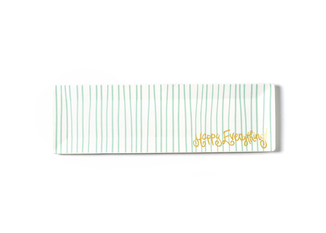 Mint Stripe Happy Everything! Skinny Rectangle Tray