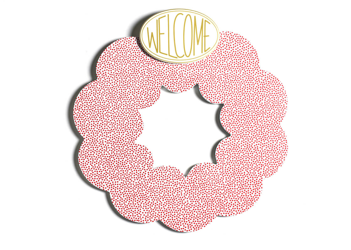 Red Small Dot Big Wooden Wreath