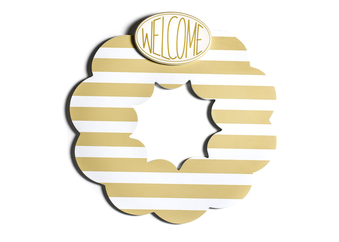 Neutral Stripe Big Wooden Wreath