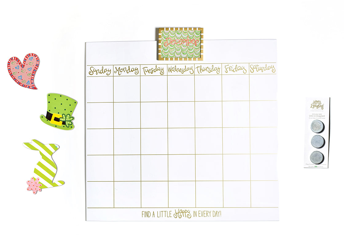 "Happy Everything! Magnetic Dry Erase 30"" Wall Calendar with Gold Frame Attachment, Velcro Backed Converter Magnets, and Mini Attachments"