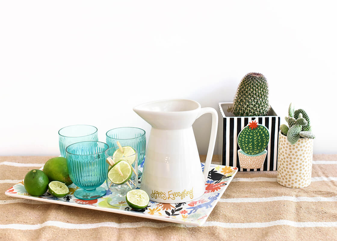White Stripe Happy Everything! Flare Pitcher