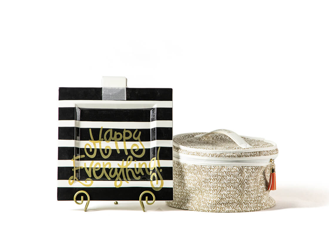 Black Stripe Big Happy Everything! Square Platter with Plate Stand and Attachment Bag