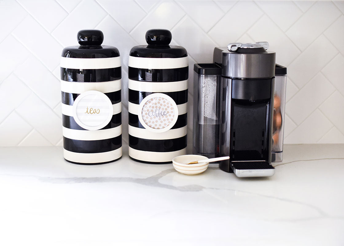 Black Stripe Mini Canister with Pantry Inserts Frame Mini Attachment