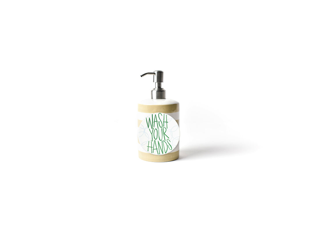 Neutral Stripe Mini Cylinder Soap Pump and a Wash Your Hands Bubbles Mini Attachment