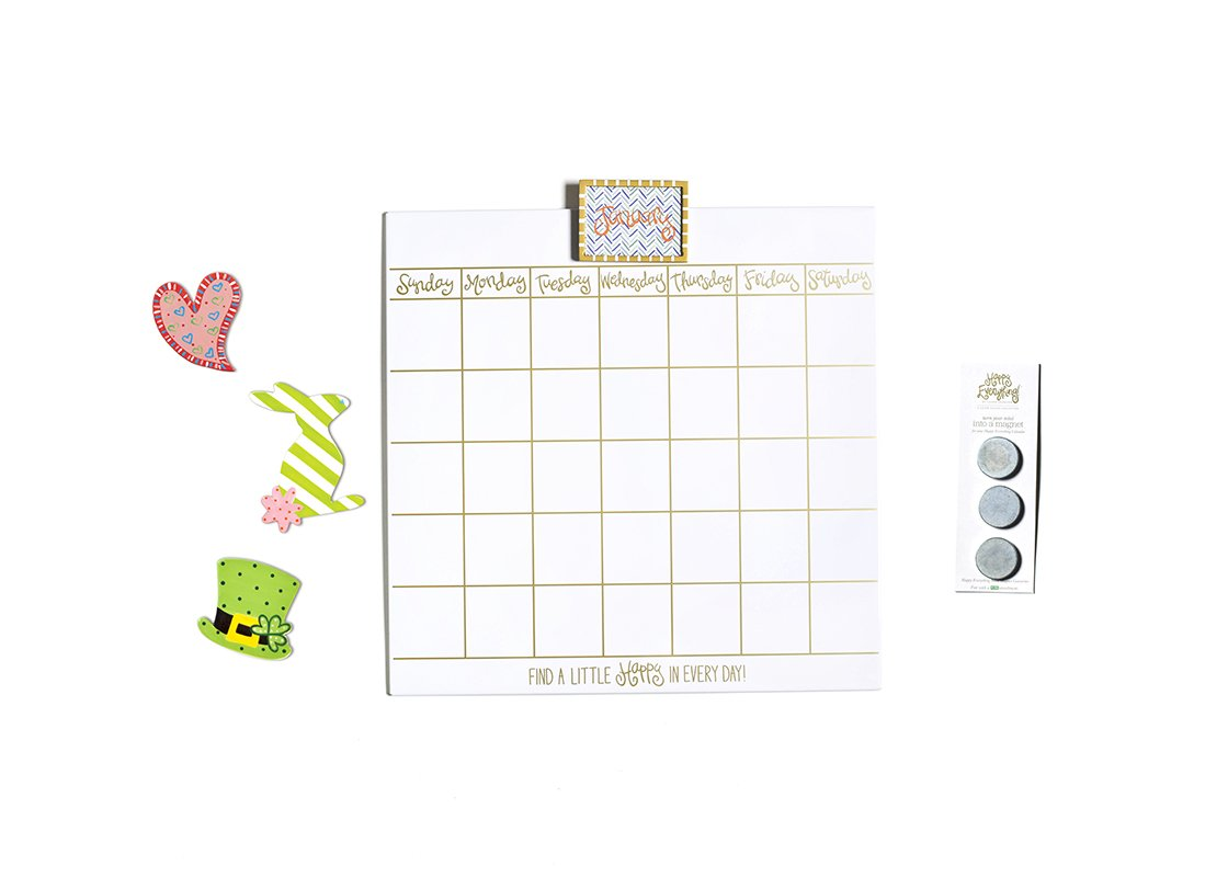 "Happy Everything! Magnetic Dry Erase 18"" Wall Calendar with Gold Frame Attachment, Velcro Backed Converter Magnets, and Mini Attachments."