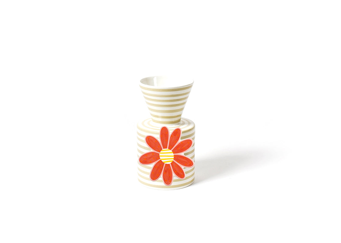 Neutral Stripe Mini Vase and Daisy Flower Mini Attachment