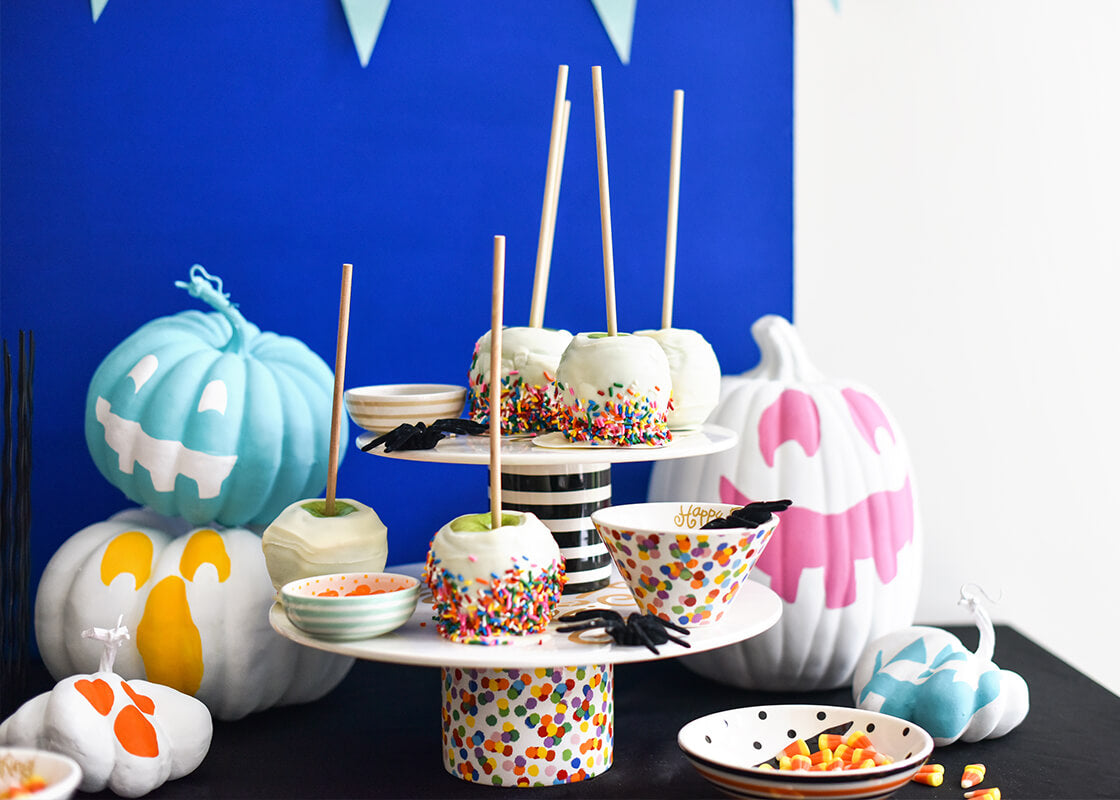 Black Stripe Happy Everything! Cake Stand