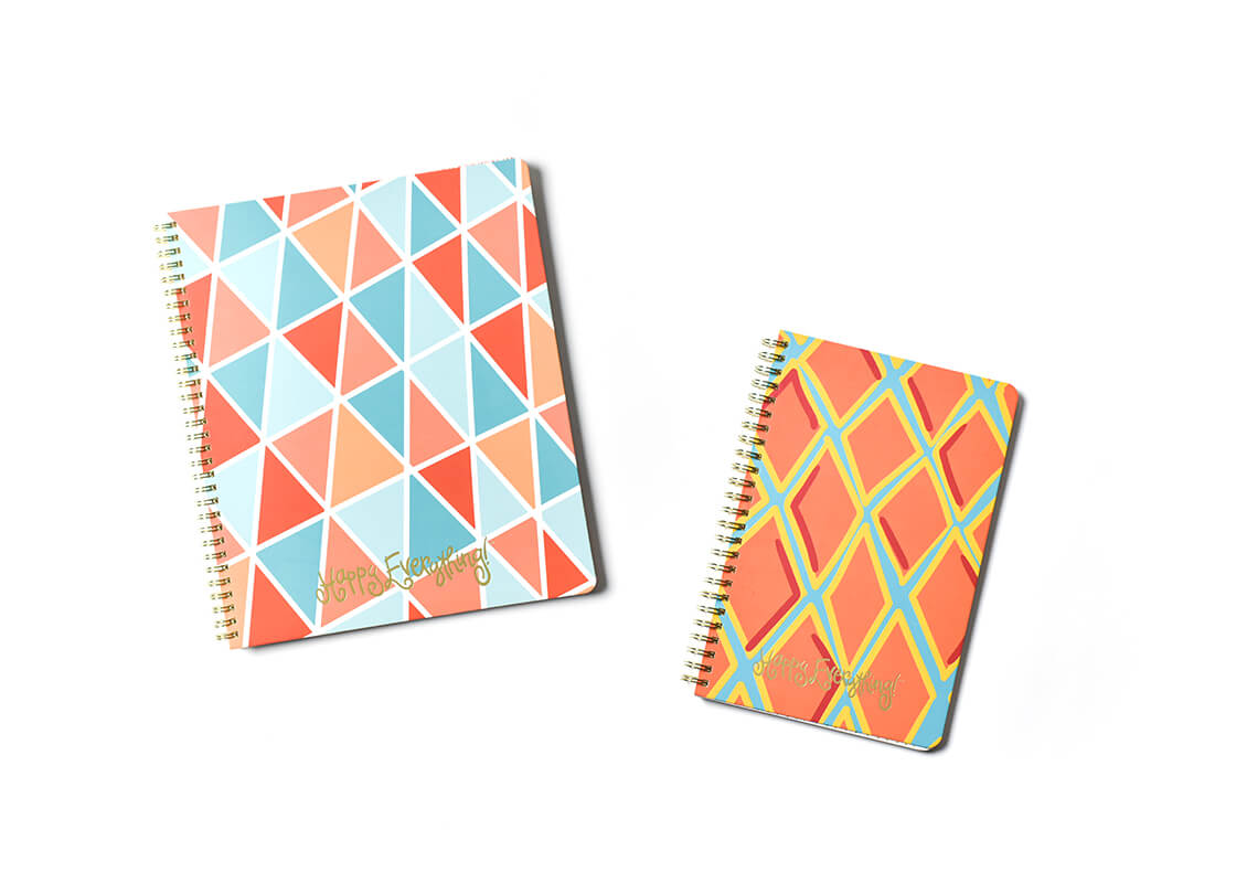Large Color Block Geometric and Medium Persimmon Diamonds Happy Everything! Spiral Notebook Set