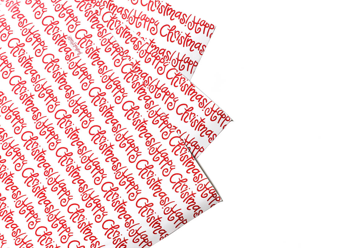Happy Christmas Gift Wrapping Paper - 3 Sheets