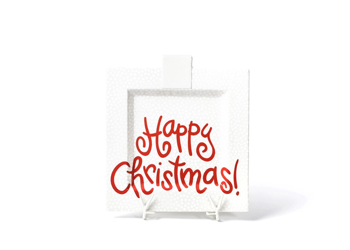 White Small Dot Big Happy Christmas Square Platter