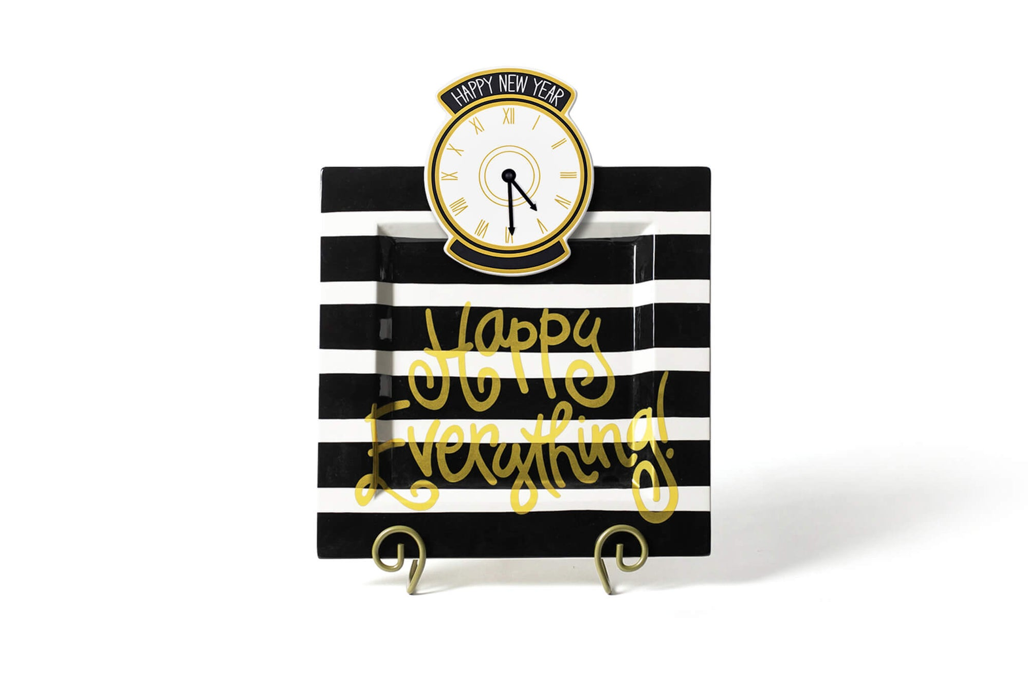 Black Stripe Big Happy Everything! Square Platter
