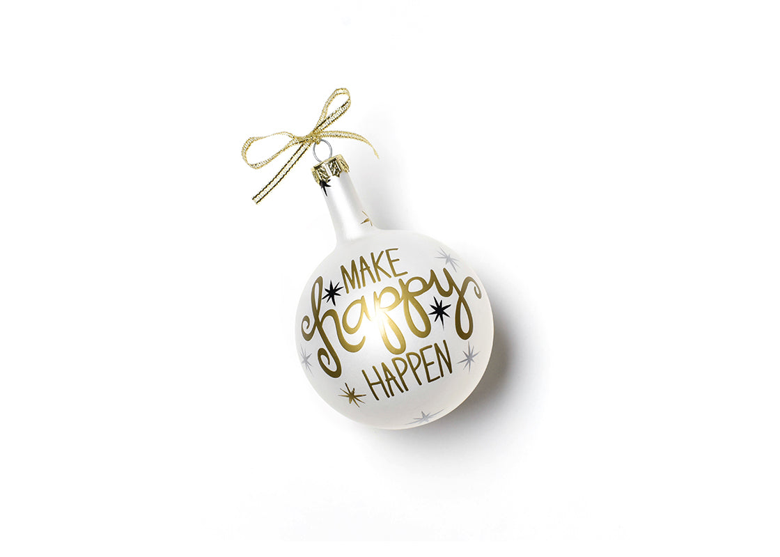 Make Happy Happen Glass Ornament