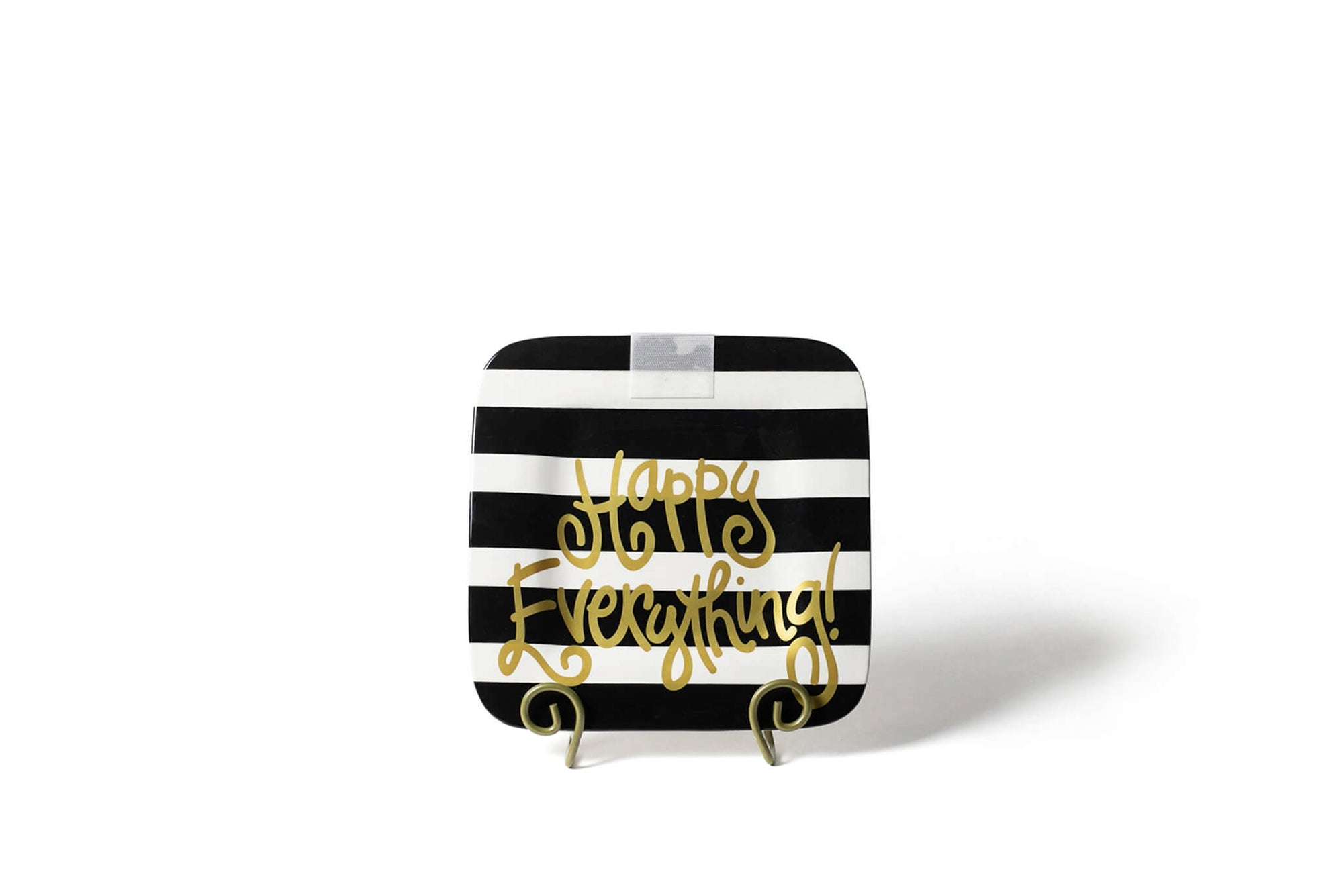 Black Stripe Mini Happy Everything! Square Platter