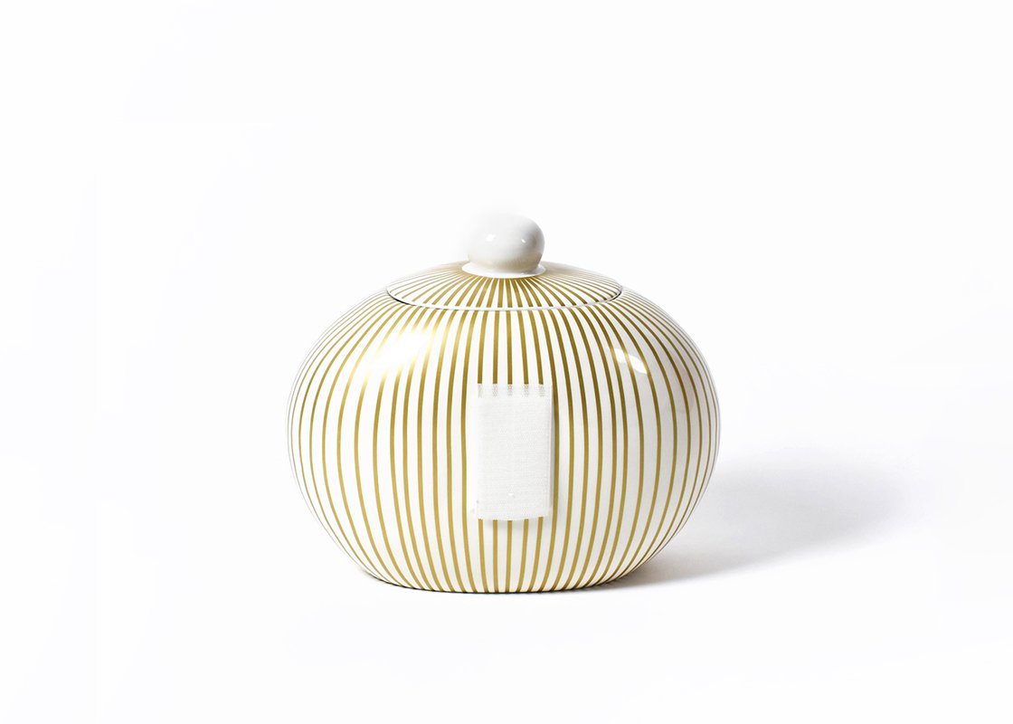 Gold Stripe Big Cookie Jar