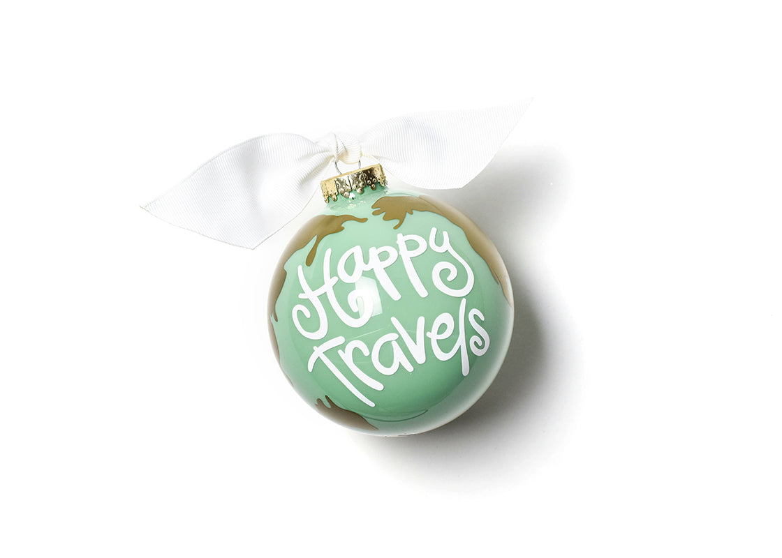 Happy Travels Glass Ornament