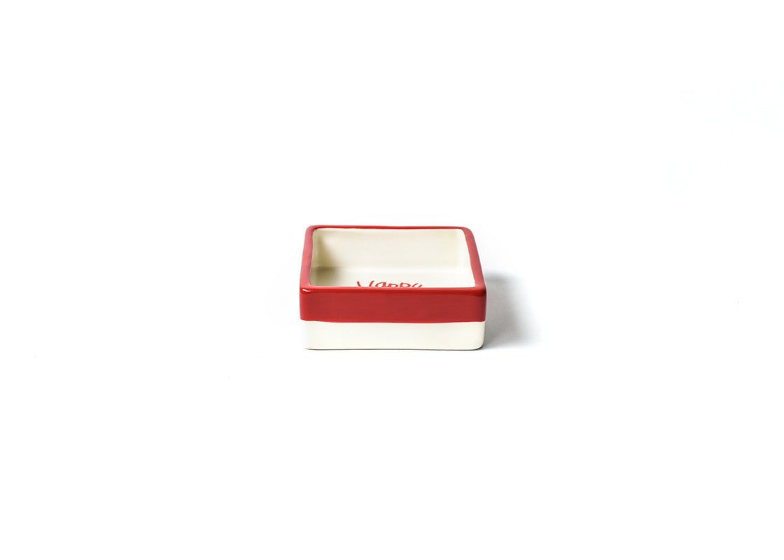 White Color Block Happy Christmas Square Trinket Bowl