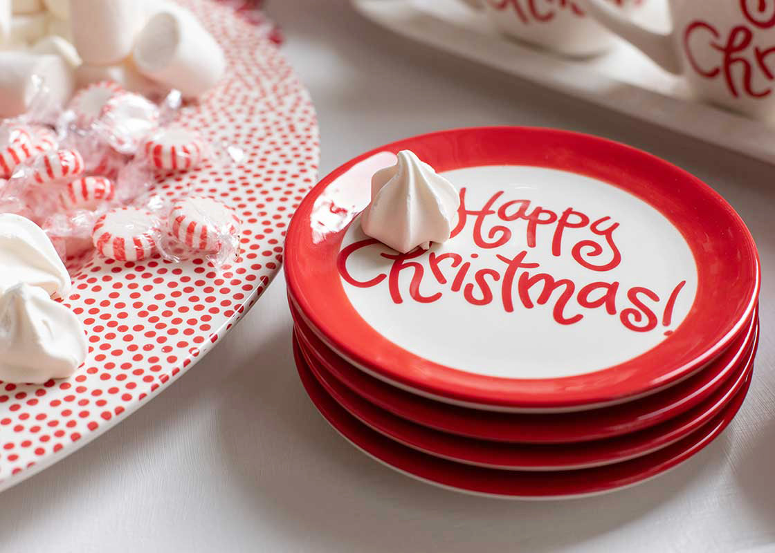 Color Block Happy Christmas Dessert Plate