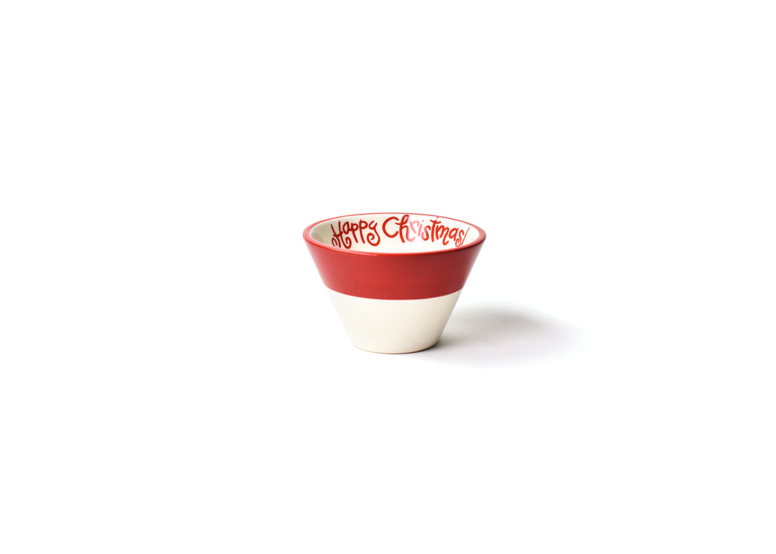 White Color Block Happy Christmas Mod Appetizer Bowl