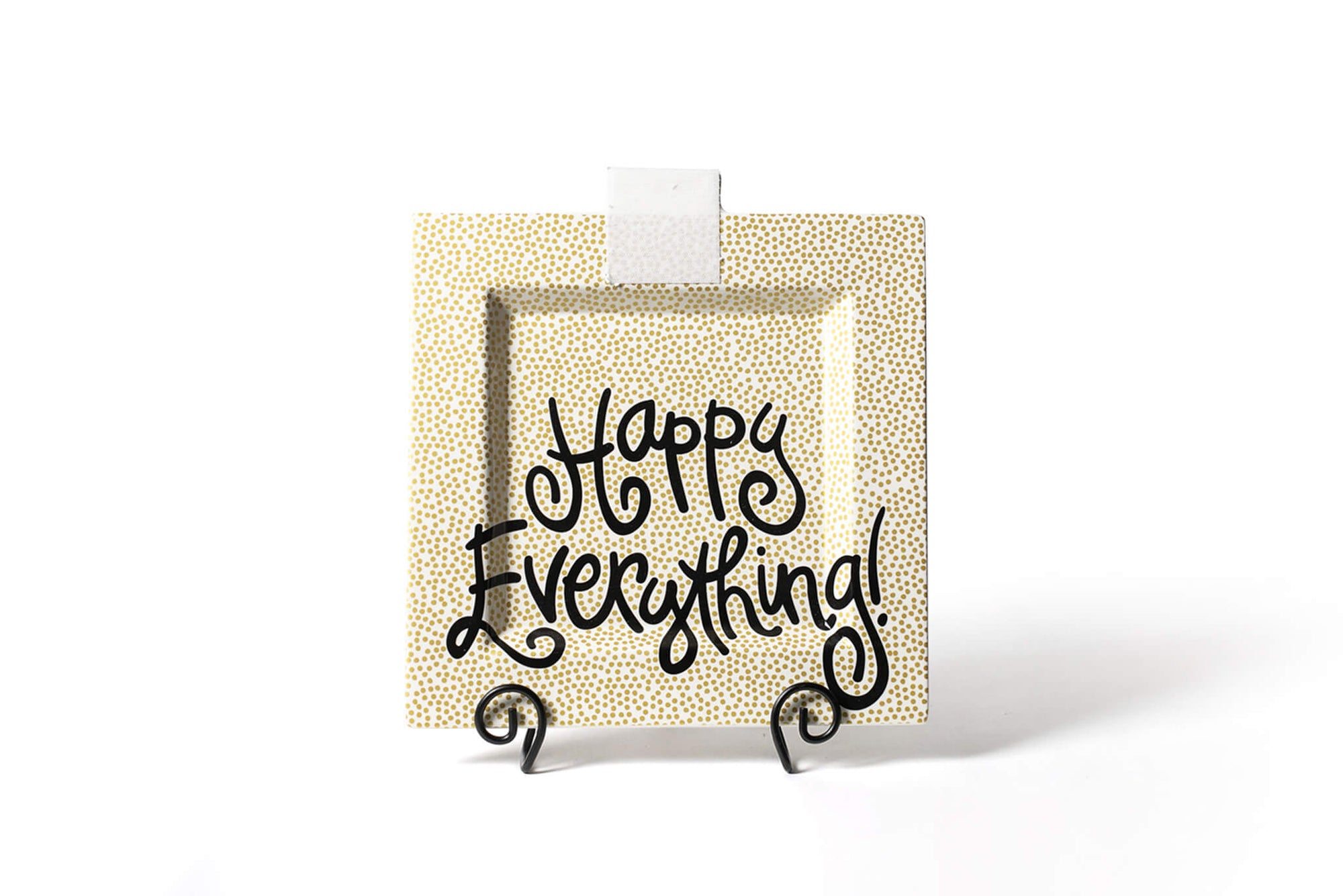 Gold Small Dot Big Happy Everything! Square Platter