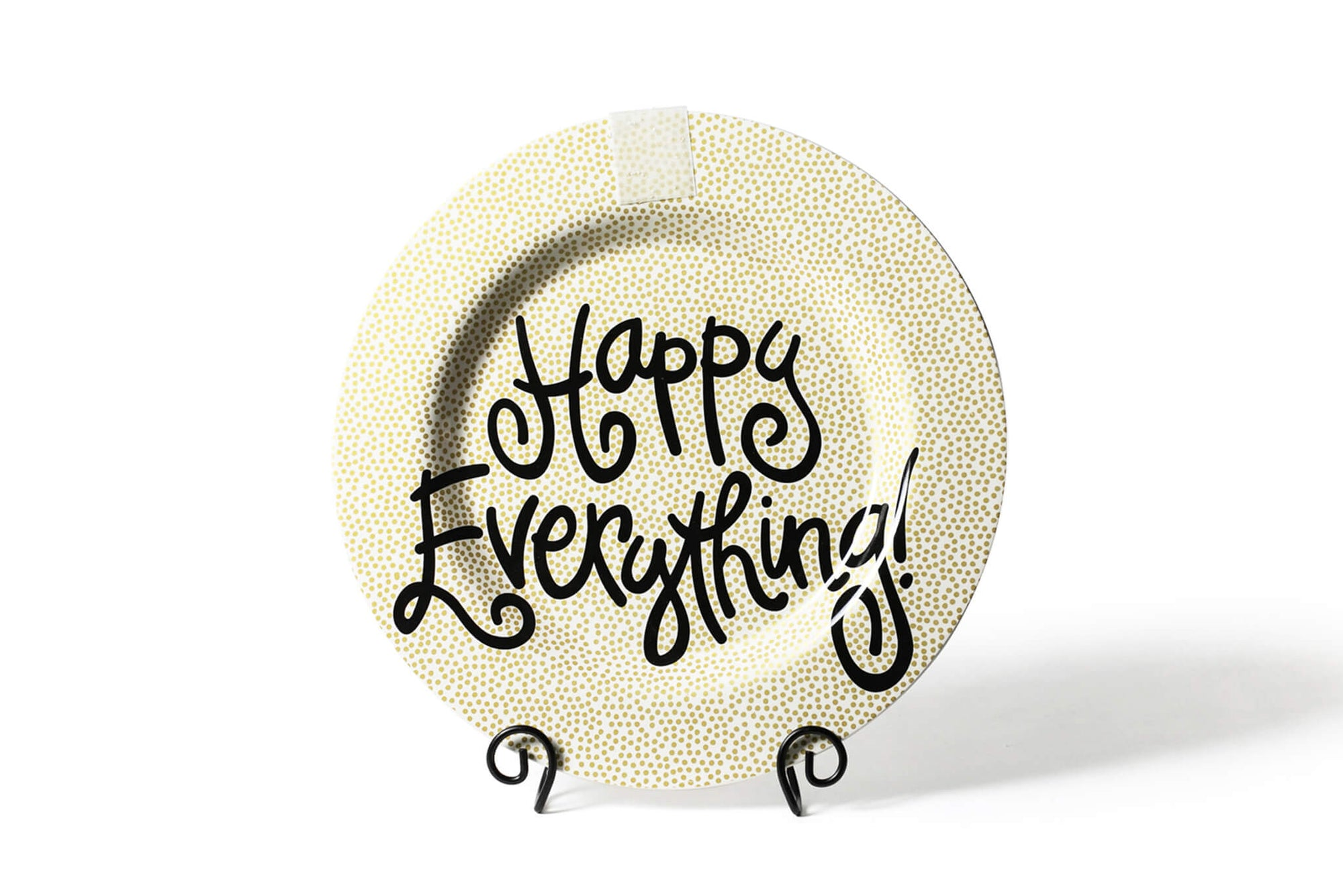 Gold Small Dot Big Happy Everything! Round Platter