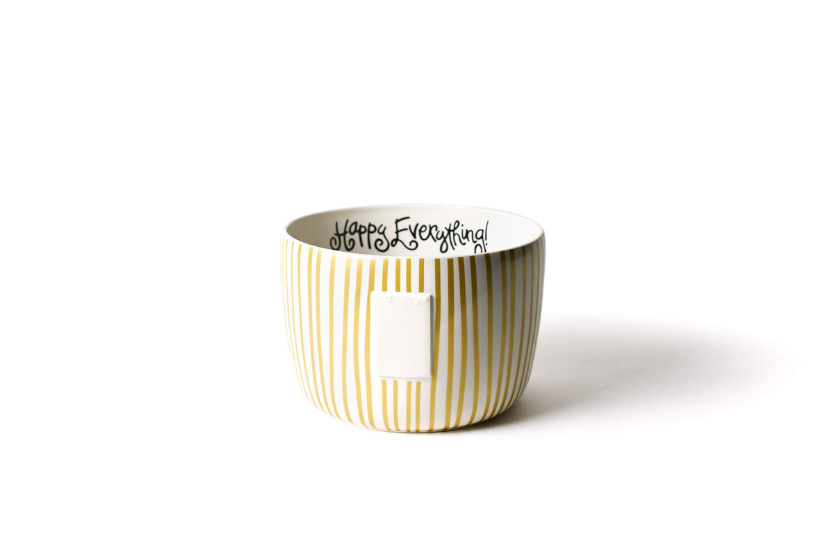 Gold Stripe Big Happy Everything! Bowl