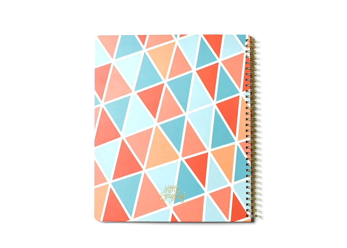 Color Block Geometric Happy Everything! Large Spiral Notebook