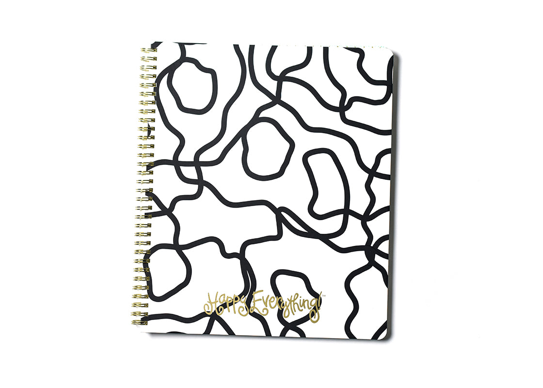 Black Squiggle Happy Everything! Large Spiral Notebook