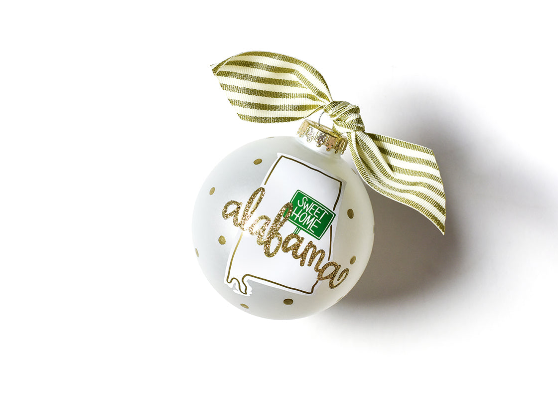 Alabama Motif Glass Ornament