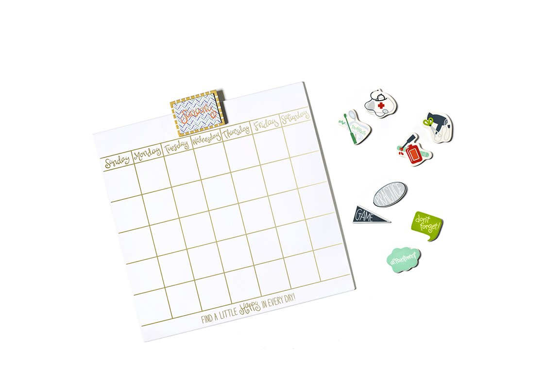 "Happy Everything! 18"" Magnetic Dry Erase Wall Calendar with Gold Frame and Magnets"