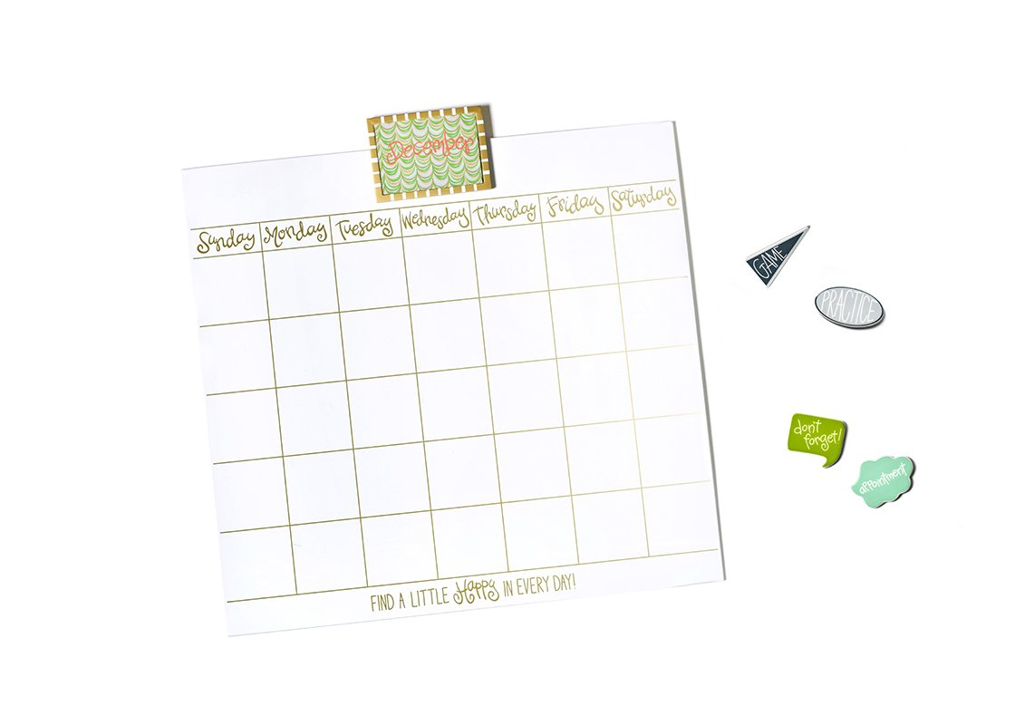 "Happy Everything! 30"" Magnetic Dry Erase Wall Calendar with Gold Frame and Magnets"