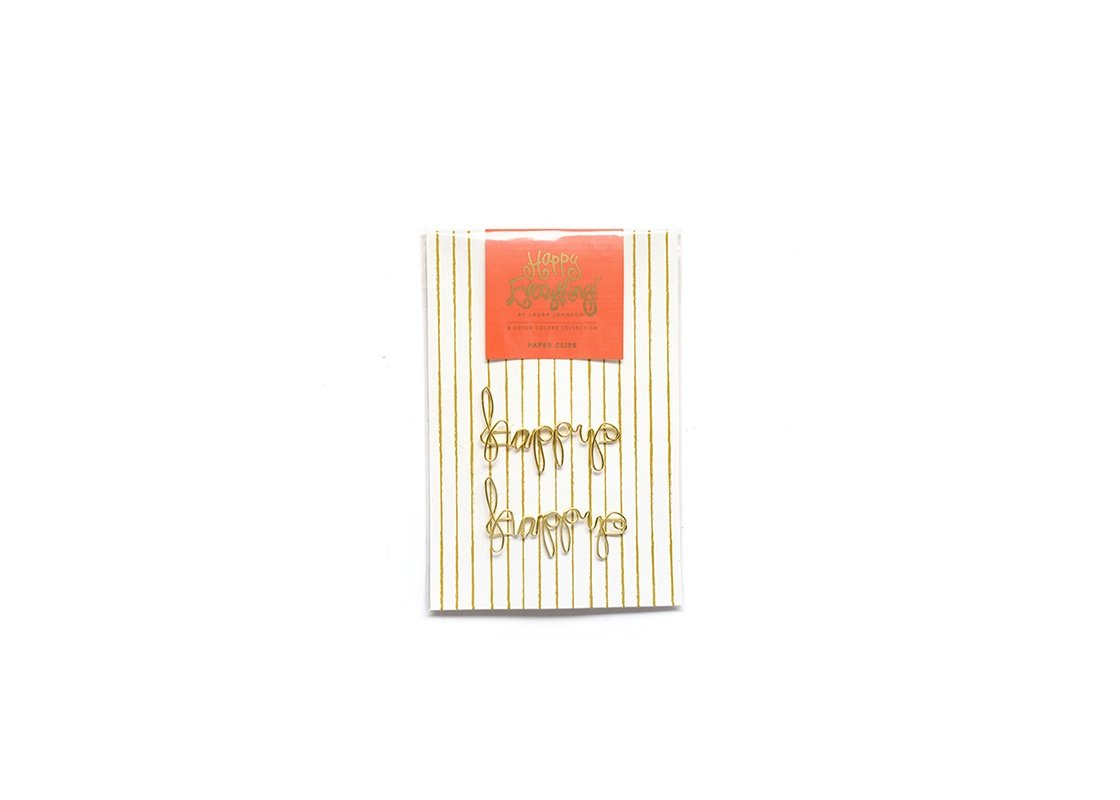 Gold Happy Paper Clips Set Of 2