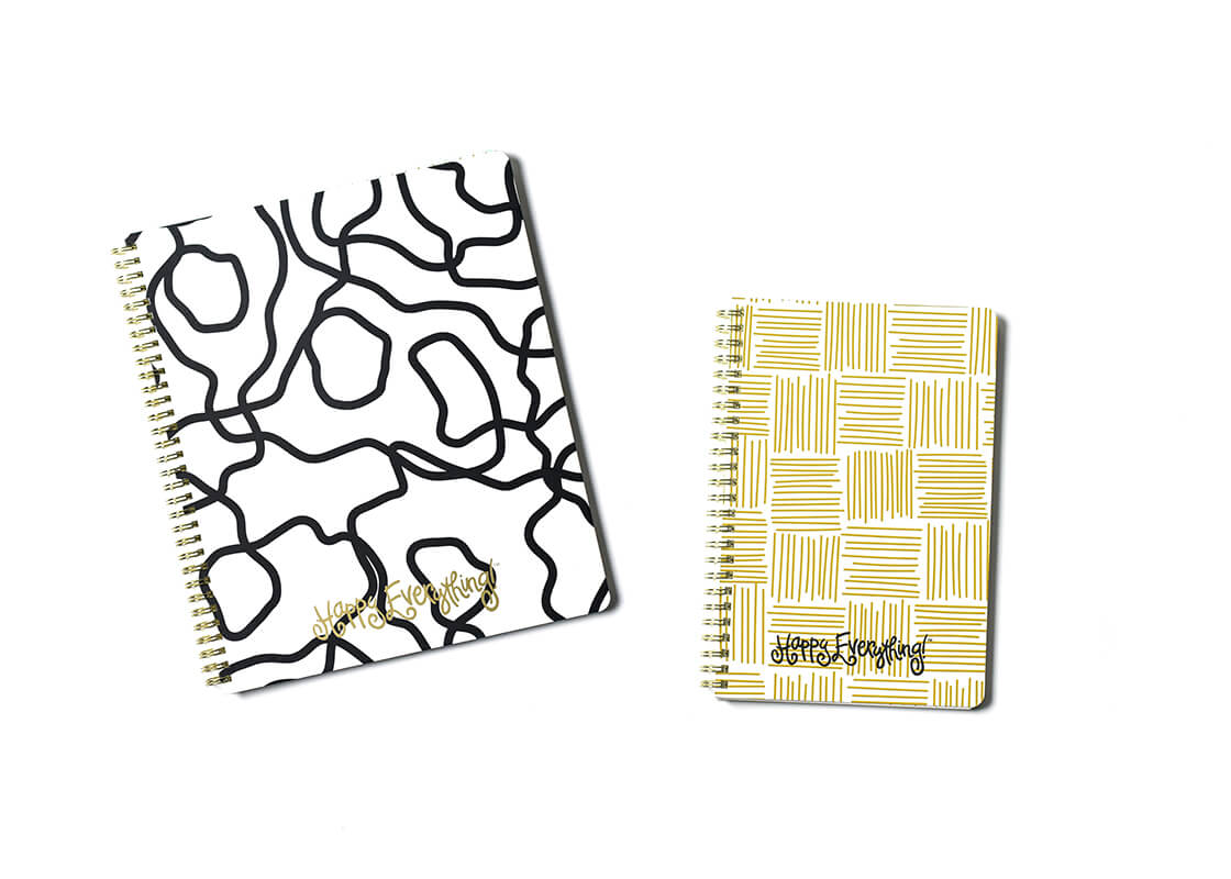 Large Black Squiggle and Medium Gold Weave Happy Everything! Spiral Notebook Set