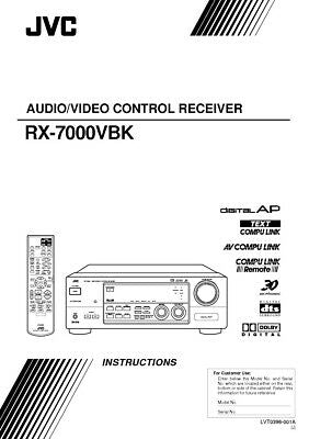 JVC RX-7000VBK Receiver Owners Instruction Manual Reprint