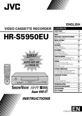 JVC HR-S5950EU VCR Owners Instruction Manual Reprint
