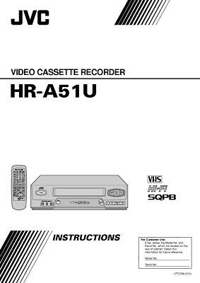 JVC HR-A51U VCR Owners Instruction Manual Reprint